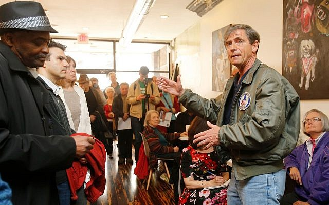 Joe Sestak talks to supporters at a campaign rally in Pittsburgh, March 26, 2015. (Jason Cohn For The Washington Post/Getty Images via JTA)
