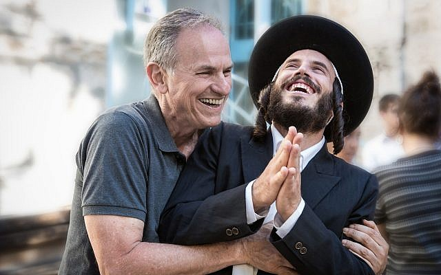 Director Avi Nesher, left, with Nathan Goshen on the set of 'The Other Story.' (Michal Fattal)