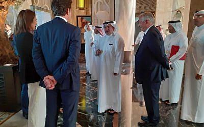 "Bahraini Crown Prince Salman bin Hamad bin Isa Al Khalifa arrives at the ""Peace to Prosperity"" workshop in Manama, Bahrain, June 25, 2019. (Raphael Ahren/Times of Israel)"