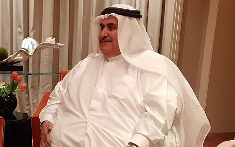 Bahraini Foreign Minister Khalid bin Ahmed Al Khalifa speaks with the Times of Israel on the sidelines of the Peace to Prosperity workshop in Manama, Bahrain, on June 26, 2019. (Raphael Ahren/Times of Israel)