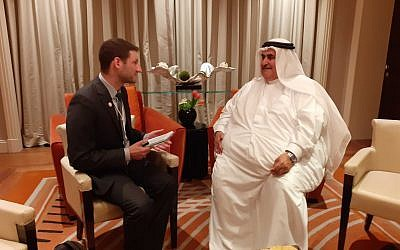 Bahraini Foreign Minister Khalid bin Ahmed Al Khalifa speaks with the Times of Israel on the sidelines of the Peace to Prosperity workshop in Manama, Bahrain, on June 26, 2019. (Courtesy)