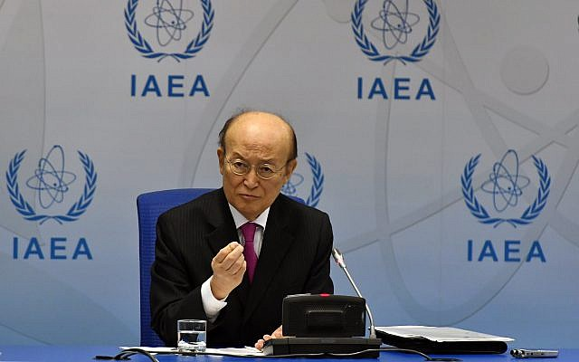 International Atomic Energy Agency Director General Yukiya Amano at a press conference during the Board of Governors Meeting at IAEA headquarters in Vienna, Austria, June 10, 2019. (Dean Calma / IAEA)