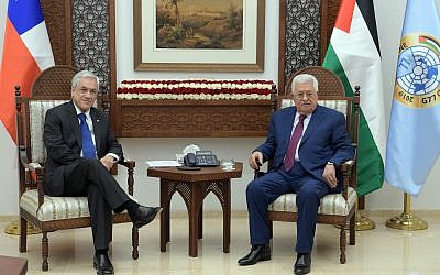 Palestinian Authority President Mahmoud Abbas and Chilean President Sebastian Pinera meeting in Ramallah on June 27, 2019. (Credit: Wafa)