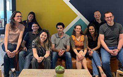 Raz Bachar, center, and the Microsoft for Startups team in Tel Aviv (Courtesy)