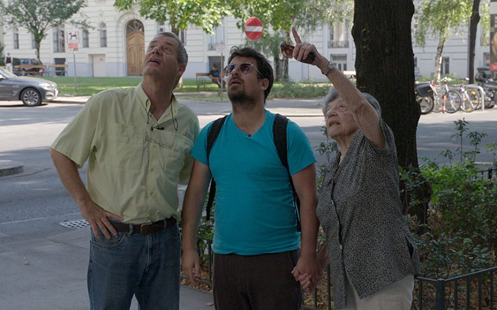 Dan Peled, center, with his father, Gidi, and grandmother Lea. Peled is a main subject of 'Back to the Fatherland,' a documentary on Israelis moving back to Germany and Austria. (First Run Features/via JTA)