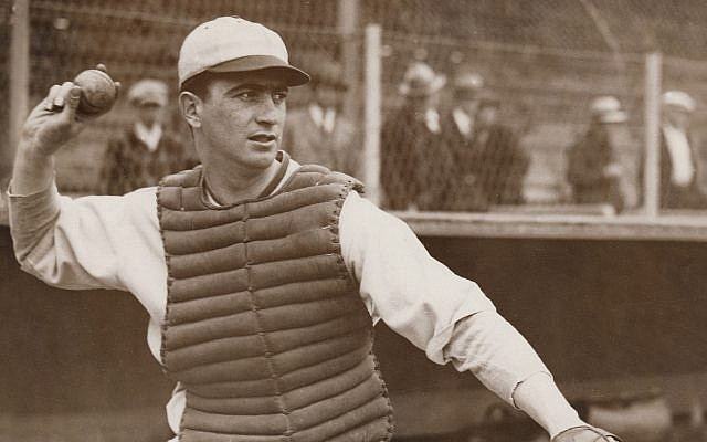 Moe Berg was a catcher for several teams during his 15-year Major League Baseball career in the 1920s and '30s. (Courtesy of Irwin Berg via JTA)