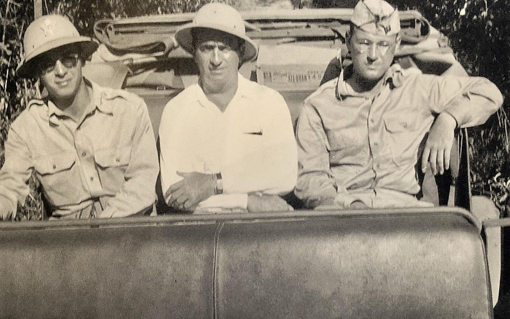 Moe Berg, center, is seen on a 'goodwill' assignment for the U.S. government in South America, August 1942. (Courtesy of Linda McCarthy via JTA)