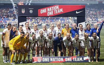 The full roster for the United States Women's National Team that is heading to France for the 2019 World Cup, shown just after a friendly match against Mexico at Red Bull Arena in Harrison, New Jersey, May 26, 2019. (Ira L. Black/Corbis via Getty Images, JTA)