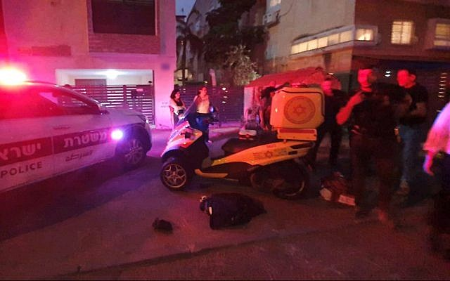 First responders at the site of a fatal shooting in Kiryat Chaim just north of Haifa on June 30, 2019. (Magen David Adom)