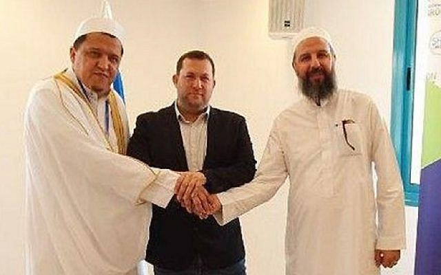 From left to right: Imam Hassen Chalghoumi, Samaria Regional Council head Yossi Dagan and Sheikh Abu-Khalil Tamimi in the West Bank on June 13, 2019  (Courtesy Samaria Regional Council)