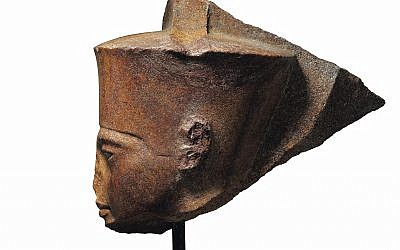 This image released by Christie's on Tuesday, June 11, 2019, shows a 3,000-year-old stone sculpture of the famed boy pharaoh Tutankhamun at Christie's in London. (Christie's via AP)