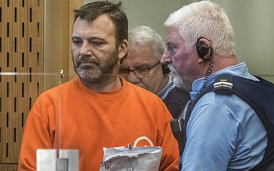 Philip Neville Arps, left, appears for sentencing in the Christchurch District Court, in Christchurch, New Zealand, Tuesday, June 18, 2019. (John Kirk-Anderson/Pool via AP)
