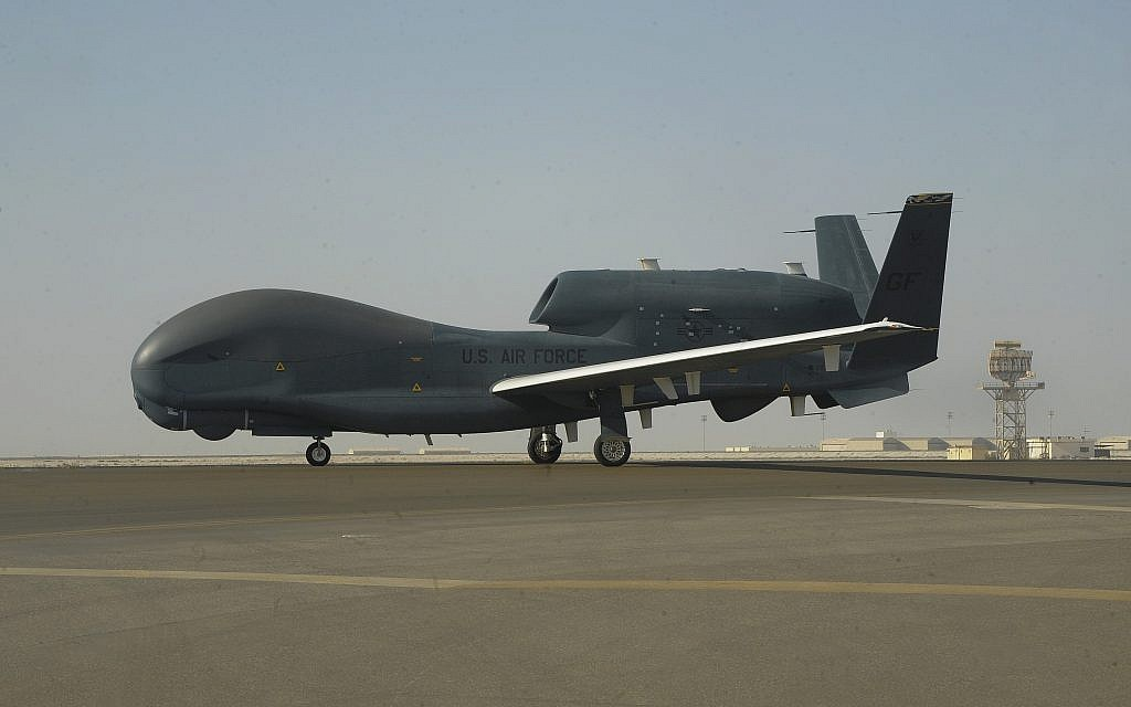 In this February 13, 2018, photo released by the US Air Force, an RQ-4 Global Hawk is seen on the tarmac of Al-Dhafra Air Base near Abu Dhabi, United Arab Emirates. (Airman 1st Class D. Blake Browning/US Air Force via AP)