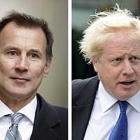 Jeremy Hunt, left, and Boris Johnson, right, are the final two contenders for leadership of the Conservative Party, June 20, 2019. (AP Photo File/Matt Dunham, Frank Augstein)