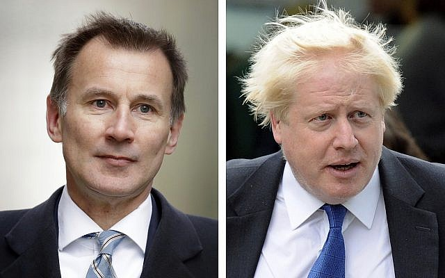 Jeremy Hunt, left, and Boris Johnson, right, are the final two contenders for leadership of the Conservative Party, Thursday, June 20, 2019. (AP Photo File/Matt Dunham, Frank Augstein)
