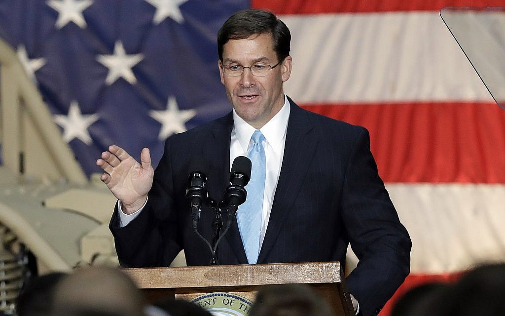 In this April 15, 2019 photo, Secretary of the Army Mark Esper speaks to soldiers and family members in Ft. Bragg, North Carolina. (AP Photo/Chuck Burton)