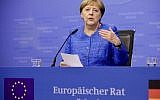 German Chancellor Angela Merkel speaks during a media conference at the end of an EU summit in Brussels on June 21, 2019. EU leaders concluded a two-day summit on Friday in which they discussed, among other issues, the euro-area. (AP/Olivier Matthys)