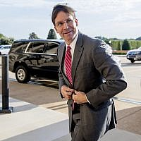 Acting Defense Secretary Mark Esper arrives at the Pentagon in Washington, June 24, 2019. (AP Photo/Andrew Harnik)