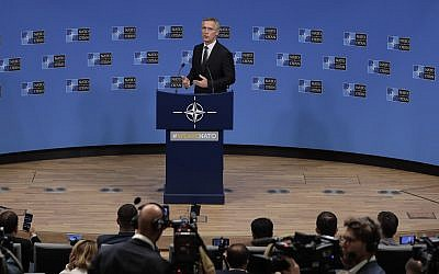 NATO Secretary General Jens Stoltenberg speaks during a media conference at NATO headquarters in Brussels, June 25, 2019. (AP Photo/Virginia Mayo)
