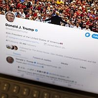 US President Donald Trump's Twitter feed is photographed on an Apple iPad in New York, June 27, 2019. (AP Photo/J. David Ake)