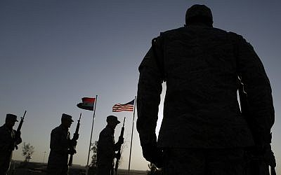 Illustrative: A US Air Force honor guard shooting party practices before a ceremony marking Veterans Day,  November 11, 2010, at Joint Base Balad, north of Baghdad, Iraq. (AP Photo/Maya Alleruzzo/File)