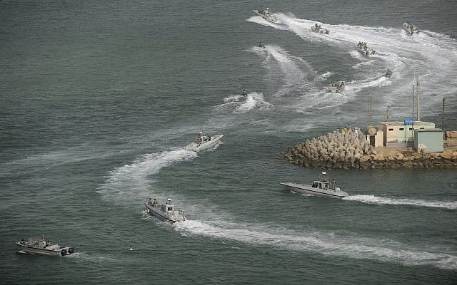 Illustrative: Iranian navy speed boats attend a drill in the sea of Oman, on Friday, Dec. 30, 2011.(AP/IIPA, Ali Mohammadi)