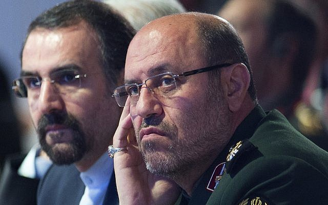 Then Iranian Defense Minister Hossein Dehghan (right) in Russia at the Moscow Conference for International Security on April 26, 2017. (AP/Ivan Sekretarev)