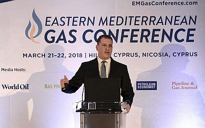 Cyprus energy minister George Lakkotrypis at the Eastern Mediterranean gas conference held in Nicosia, Cyprus, March 21, 2018. (AP/Petros Karadjias)