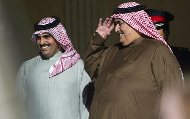 Bahraini Foreign Minister Khalid bin Ahmed al-Khalifa, right, gestures as Secretary of State Mike Pompeo leaves at the Al-Qudaibiya Palace in Manama, Friday, Jan. 11, 2019. (Andrew Caballero-Reynolds/Pool/ AP)