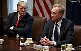 US President Donald Trump listens as acting Defense Secretary Patrick Shanahan speaks during an expanded bilateral meeting with NATO Secretary General Jens Stoltenberg in the Cabinet Room of the White House, April 2, 2019, in Washington. (AP Photo/Evan Vucci)