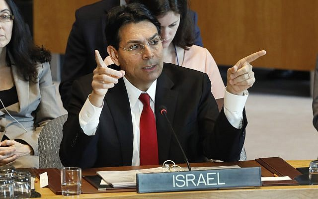 Israel's Ambassador Danny Danon speaks in the Security Council at United Nations headquarters, Monday, April 29, 2019. (AP/Richard Drew)