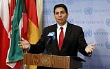 Israel's Ambassador to the United Nations, Danny Danon, speaking outside the Security Council at UN headquarters in New York, April 29, 2019. (AP/Richard Drew)