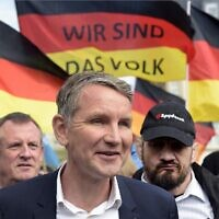 Thuringia's AfD faction leader Bjoern Hoecke attends a rally in Erfurt, Germany, May 1, 2019.  (AP Photo/Jens Meyer)