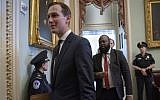 President Donald Trump's senior adviser, and son-in-law, Jared Kushner, departs the Capitol after a meeting with Senate Republicans, in Washington, Tuesday, May 14, 2019. (AP/J. Scott Applewhite)