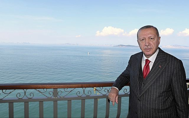Turkey's President Recep Tayyip Erdogan poses for a photo during a visit to the island of Yassiada in the Sea of Marmara near Istanbul, May 24, 2019. (Presidential Press Service via AP, Pool)