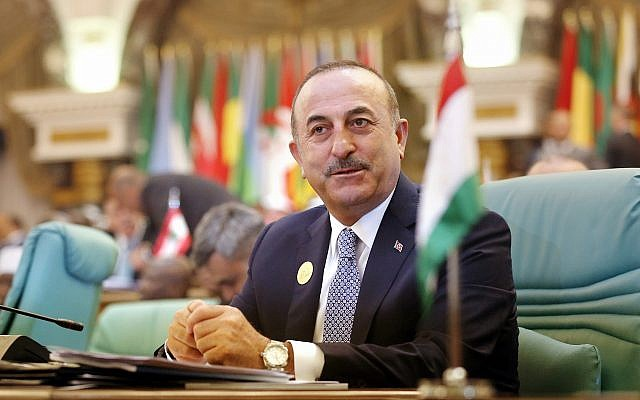 Turkey's Foreign Minister Mevlut Cavusoglu attends the Islamic Summit of the Organization of Islamic Cooperation (OIC) in Mecca, Saudi Arabia, early Saturday, June 1, 2019 (AP Photo/Amr Nabil)