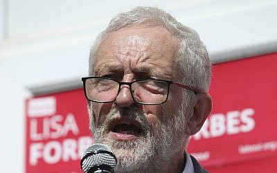 Labour Party leader Jeremy Corbyn campaigns for Lisa Forbes in Peterborough, England, on June 1, 2019. (Danny Lawson/PA via AP)