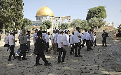 Police officers escort a group of religious Jews at the Temple Mount compound in Jerusalem's Old City, June 2, 2019. (AP Photo/Mahmoud Illean)
