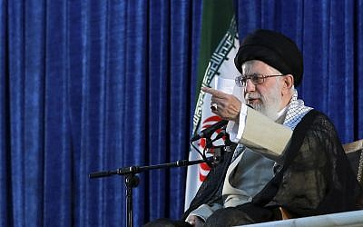 Iranian supreme leader, Ayatollah Ali Khamenei speaks in a ceremony marking the 30th death anniversary of the late revolutionary founder Ayatollah Ruhollah Khomeini, at his mausoleum just outside Tehran, Iran, June 4, 2019. (Office of the Iranian Supreme Leader via AP)