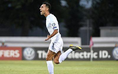 Eran Zahavi celebrates after he scored goal during their Euro 2020 group G qualifying soccer match between Latvia and Israel in Riga, Latvia, June 7, 2019. (AP Photo/Roman Koksarov)
