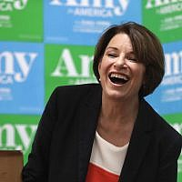 Democratic presidential candidate Sen. Amy Klobuchar, D-Minn., laughs at a campaign event, Monday, June 10, 2019, in Concord, N.H. (AP Photo/Elise Amendola)