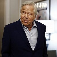 In this photo from May 22, 2019, New England Patriots owner Robert Kraft arrives to the NFL football owners meeting in Key Biscayne, Florida. (AP Photo/Brynn Anderson, File)