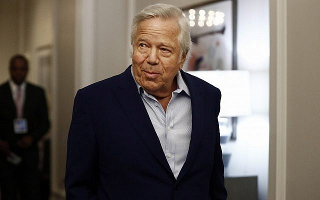 In this photo from May 22, 2019, New England Patriots owner Robert Kraft arrives at an NFL football owners meeting in Key Biscayne, Florida. (AP Photo/Brynn Anderson)