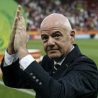 FIFA President Gianni Infantino after the final match between Ukraine and South Korea at the U20 soccer World Cup in Lodz, Poland, June 15, 2019. (AP/Darko Vojinovic)