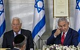 Israeli Prime Minister Benjamin Netanyahu convenes his Cabinet with United States Ambassador to Israel David Friedman to inaugurate a new settlement named after President Donald Trump in a gesture of appreciation for the U.S. leader's recognition of Israeli sovereignty over the Golan Heights, Sunday, June 16, 2019. (AP/Ariel Schalit)