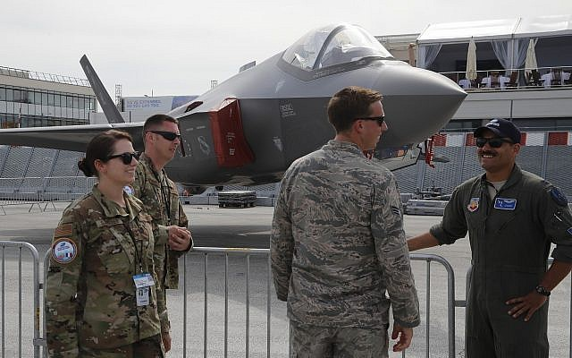 US Air Force crew members beside an F-35 Lightning II at the Paris Air Show June 18, 2019. (AP/Michel Euler)