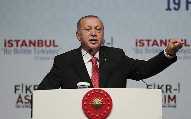Turkey's President Recep Tayyip Erdogan, in Istanbul, June 19, 2019. (Presidential Press Service via AP, Pool