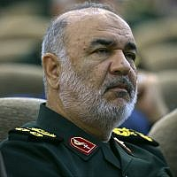 In this April 24, 2019 picture, Iran's Revolutionary Guard commander Gen. Hossein Salami attends a meeting in Tehran, Iran (Sepahnews via AP )