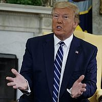 US President Donald Trump speaks during a meeting with Canadian Prime Minister Justin Trudeau at the White House in Washington, DC, on Thursday, June 20, 2019. (AP/Evan Vucci)