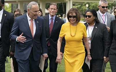 Senate Minority Leader Chuck Schumer, (D-NY, left), and Speaker of the House Nancy Pelosi (D-Calif.) joined at center rear by Sen. Richard Blumenthal (D-Conn.) at the Capitol in Washington, DC, on Thursday, June 20, 2019. (AP/J. Scott Applewhite)